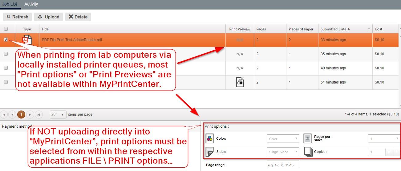 Print Options in MyHuskyPrint center